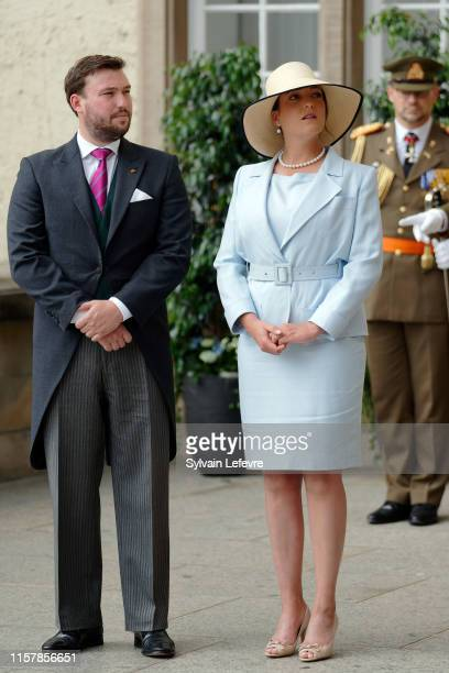 Princess Alexandra of Luxembourg and Prince Sebastien of Luxembourg arrive for the Te Deum thanksgiving mass in the Cathedral on the National Day on...