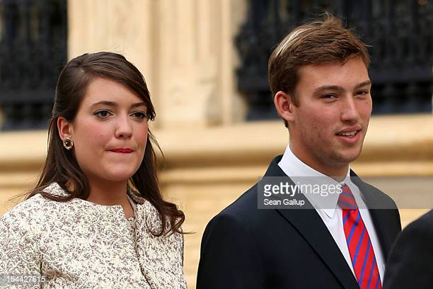 Princess Alexandra of Luxembourg and Prince Sebastien of Luxembourg on their way back from the civil ceremony for the wedding of Prince Guillaume Of...