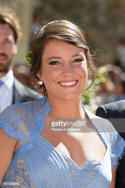 Princess Alexandra Of Luxembourg attends the Religious Wedding Of Prince Felix Of Luxembourg and Claire Lademacher at the Basilique Sainte...