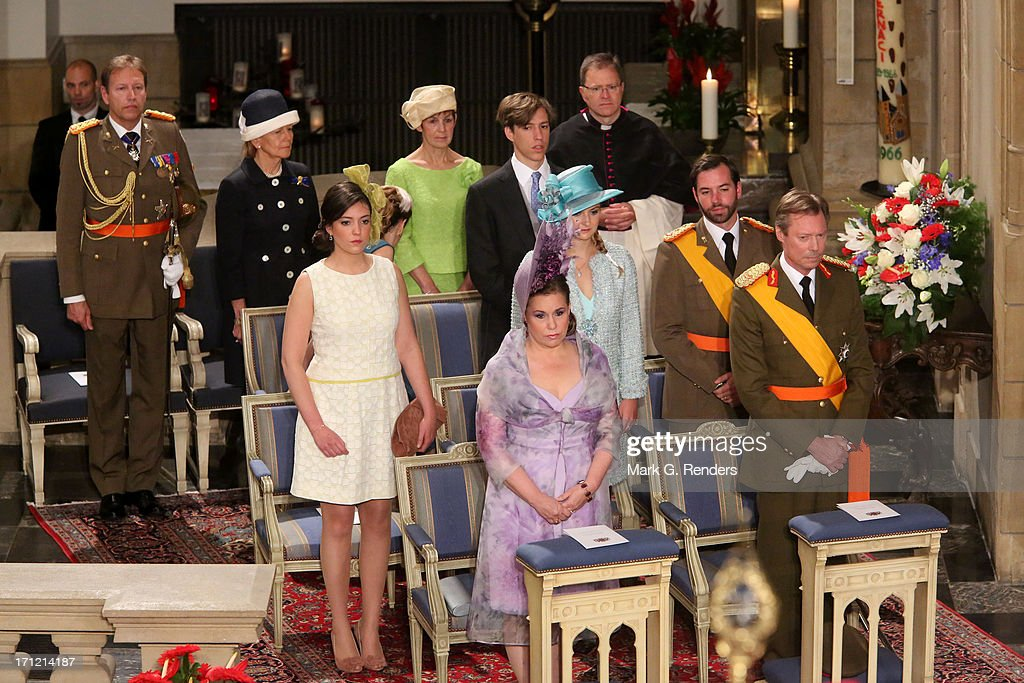 Princess Alexandra of Luxembourg, Grand Duchess Maria Teresa of Luxembourg, Grand Duke Henri of Luxembourg, Princess Stephanie of Luxembourg, Prince Guillaume of Luxembourg, Princess Tessy of Luxembourg and Prince Louis of Luxembourg celebrate National Day on June 23, 2013 in Luxembourg, Luxembourg.
