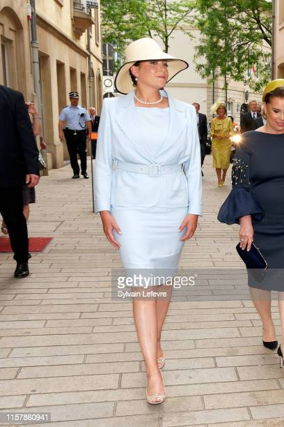 Princess Alexandra of Luxembourg leaves after attending the Te Deum thanksgiving mass in the Cathedral on the National Day on June 23 2019 in...