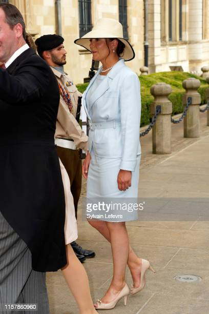 Princess Alexandra of Luxembourg leaves after attending the Te Deum thanksgiving mass in the Cathedral on the National Day on June 23, 2019 in...