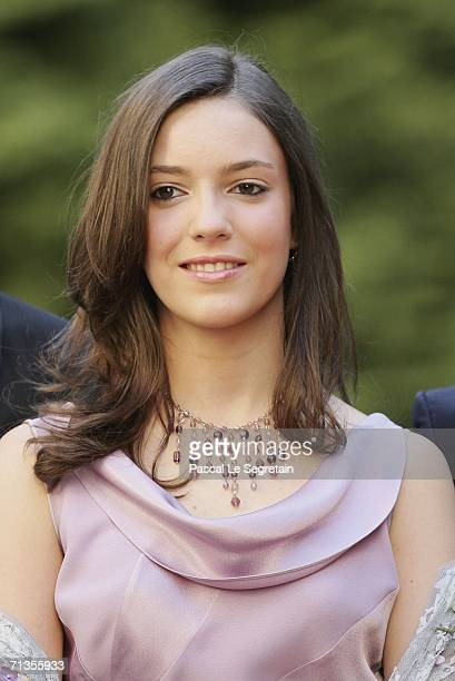 Princess Alexandra of Luxembourg poses as she arrives to attend a royal dinner at The Berg Castle as part of the Grand Duke Henri of Luxembourg's...