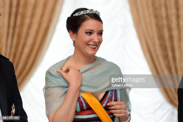 Princess Alexandra of Luxembourg poses for photographers before the official dinner for National Day at the ducal palace on June 23 2018 in...