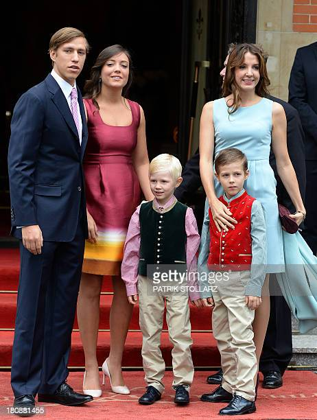 Princess Alexandra of Luxembourg poses with her brother Prince Louis his wife Princess Tessy and their children Prince Noah and Prince Gabriel upon...
