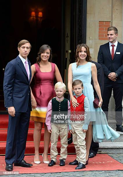 Princess Alexandra of Luxembourg poses with her brother Prince Louis , his wife Princess Tessy and their children Prince Noah and Prince Gabriel upon...