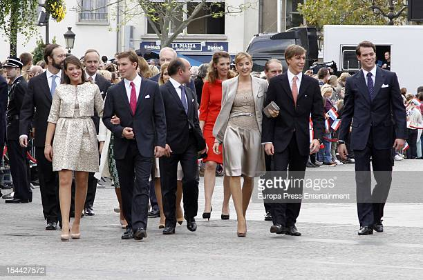 Princess Alexandra of Luxembourg Prince Louis of Luxembourg Princess Tessy of Luxembourg Prince Sebastien of Luxembourg after the civil ceremony for...