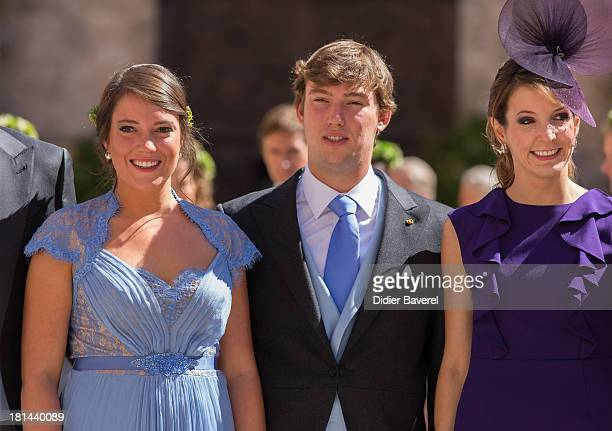 Princess Alexandra of Luxembourg Prince Sebastien Of Luxembourg and Princess Tessy Of Luxembourg attend the religious wedding of Prince Felix of...