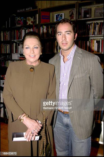 Princess Alexandra of Yugoslavia and son Dushan reception at the Hotel Dassault for the publication of the book Pierre Cardin Evolution