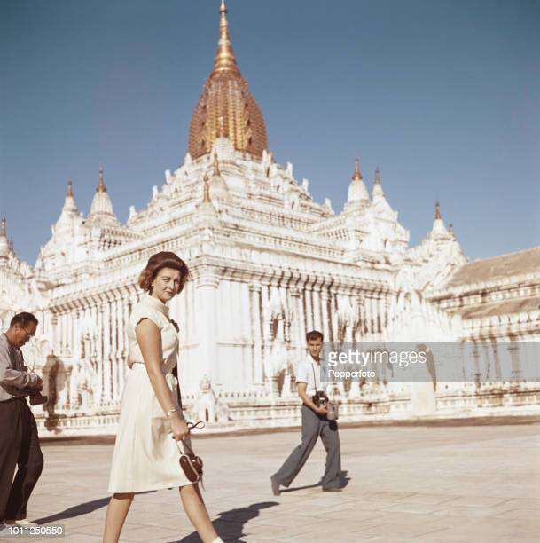 Princess Alexandra pictured walking in front of a pagoda on a tour of the ancient city of Bagan in the Mandalay area of Myanmar during her visit to...