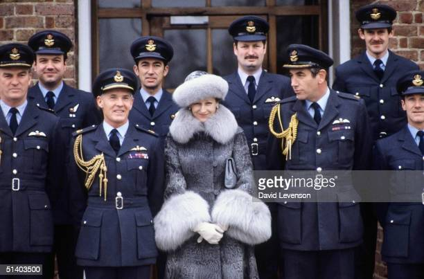 Princess Alexandra posing with officers of the Queens Flight on January 12 1983 during a visit to the RAF base The Queens Flight is based at RAF...