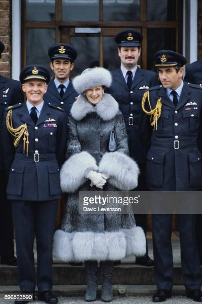 Princess Alexandra posing with officers of the Queens Flight on January 12 1983 during a visit to RAF Benson in Oxfordshire