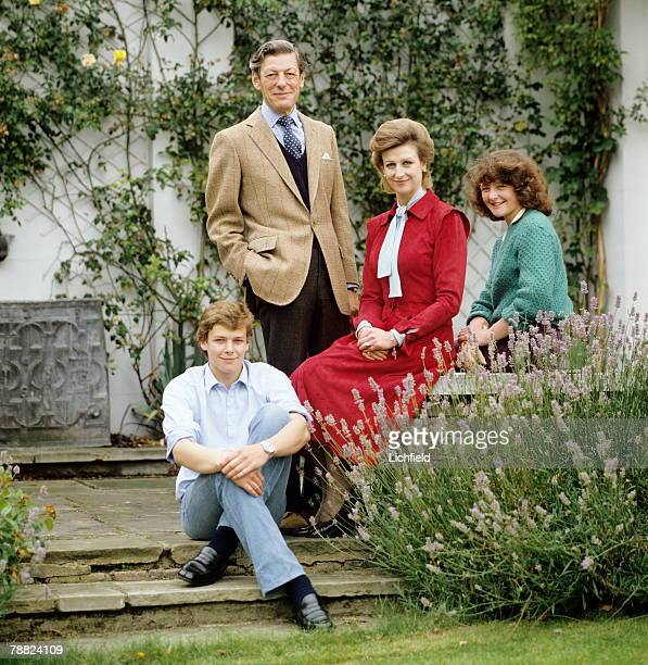 HRH Princess Alexandra The Hon Angus Ogilvy Mr James Ogilvy and Miss Marina Ogilvy in their garden at home at Thatched House Lodge Richmond Park on...