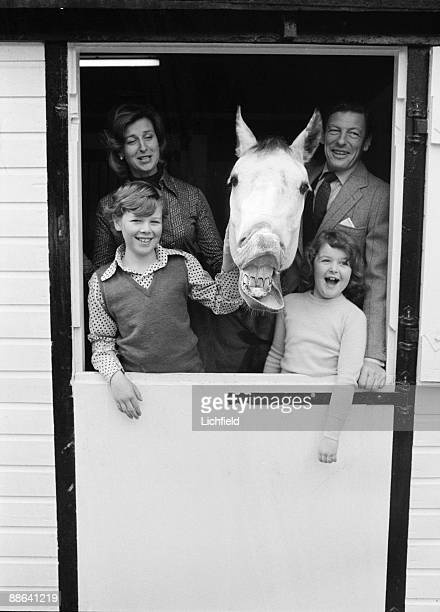 HRH Princess Alexandra The Hon Angus Ogilvy Mr James Ogilvy and Miss Marina Ogilvy in a stable at their home at Thatched House Lodge on 11th April...