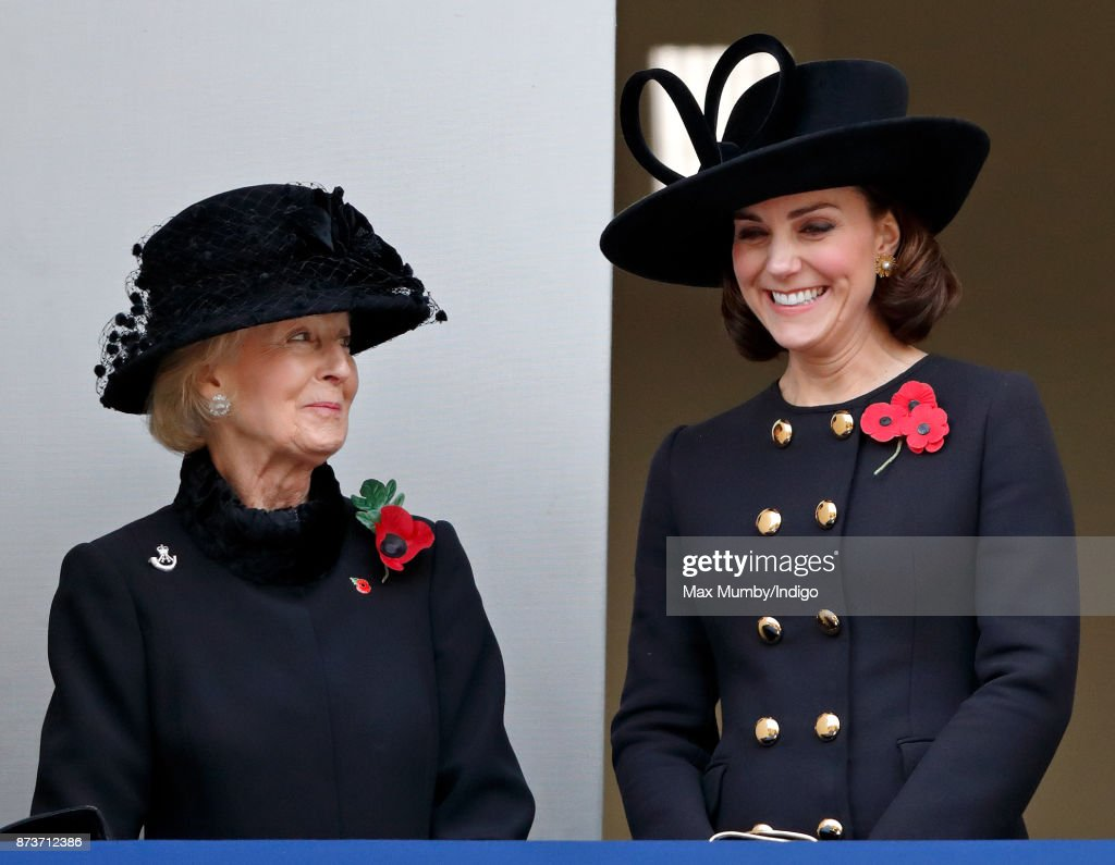 Princess Alexandra, The Honourable Lady Ogilvy and Catherine, Duchess of Cambridge attend the annual Remembrance Sunday Service at The Cenotaph on November 12, 2017 in London, England. This year marks the first time that Queen Elizabeth II watched the service from a balcony rather than lay her own wreath, instead Prince Charles, Prince of Wales laid her wreath on her behalf.