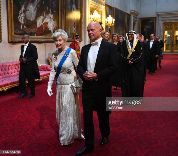 Princess Alexandra, The Honourable Lady Ogilvy and William Hague arrive through the East Gallery for a State Banquet at Buckingham Palace on June 3,...