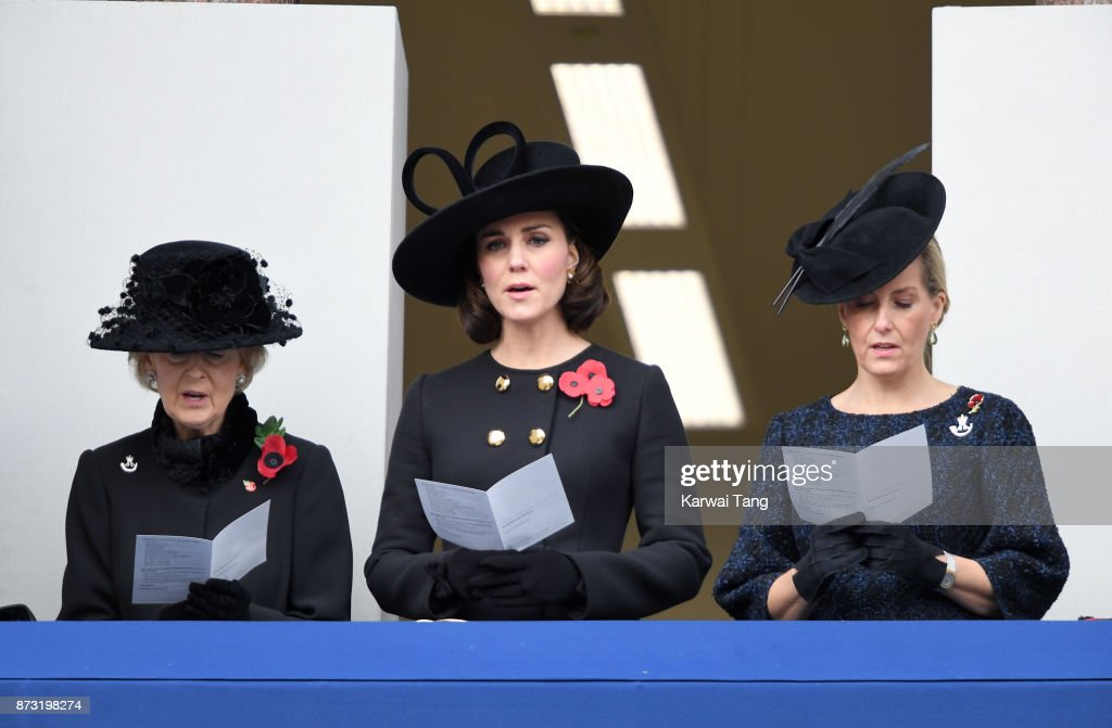 Princess Alexandra, The Honourable Lady Ogilvy, Catherine, Duchess of Cambridge and Sophie, Countess of Wessex during the annual Remembrance Sunday Service at The Cenotaph on November 12, 2017 in London, England.