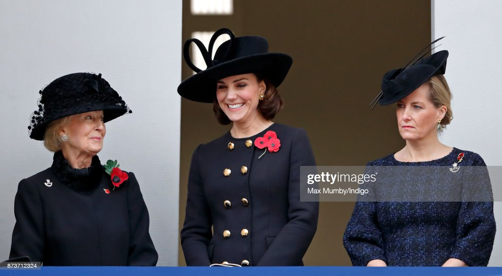 Princess Alexandra, The Honourable Lady Ogilvy, Catherine, Duchess of Cambridge and Sophie, Countess of Wessex attend the annual Remembrance Sunday Service at The Cenotaph on November 12, 2017 in London, England. This year marks the first time that Queen Elizabeth II watched the service from a balcony rather than lay her own wreath, instead Prince Charles, Prince of Wales laid her wreath on her behalf.