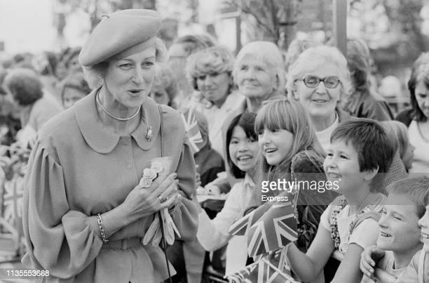 Princess Alexandra, The Honourable Lady Ogilvy, meeting the public at an Asda store opening, UK, 23rd September 1983.
