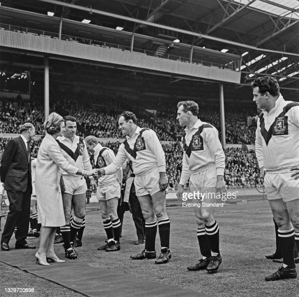Princess Alexandra, The Honourable Lady Ogilvy meets the Hunslet rugby league team who are taking on Wigan in the 1964-65 Challenge Cup final at...