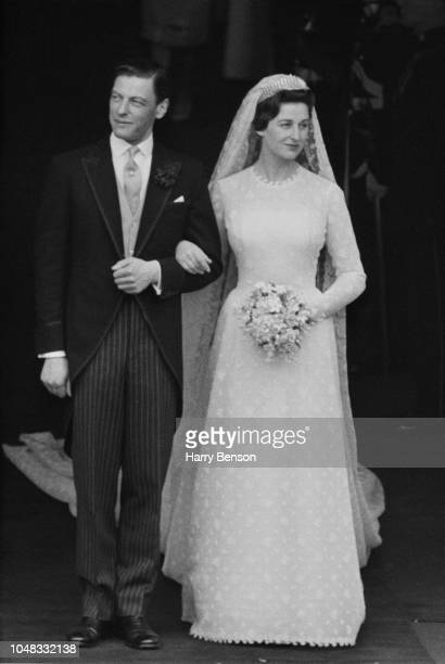 Princess Alexandra The Honourable Lady Ogilvy pictured with her husband Angus Ogilvy as they leave Westminster Abbey on the day of their wedding in...