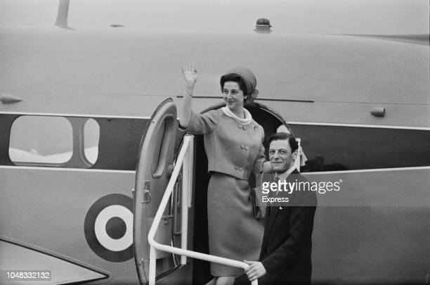 Princess Alexandra The Honourable Lady Ogilvy pictured with her husband Angus Ogilvy waving from the steps of a Hawker Siddeley Andover aircraft of...