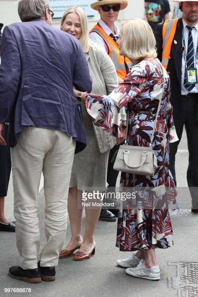 Princess Alexandra The Honourable Lady Ogilvy seen arriving at Wimbledon for Men's Semi Final Day on July 12 2018 in London England