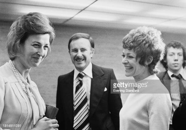 Princess Alexandra with actors Alec McCowen and Janet Suzman , winners of the Best Actor and Best Actress awards at the Evening Standard Theatre...