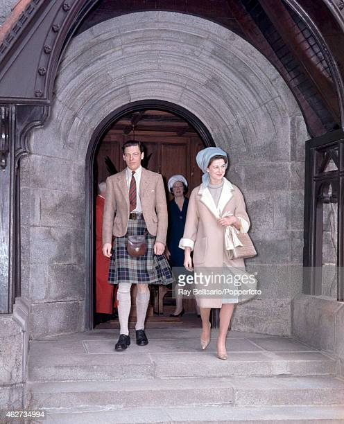 Princess Alexandra with her husband Angus Ogilvy leaving church during their honeymoon in Aberdeenshire Scotland on 29th April 1962