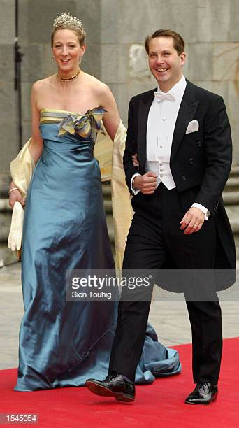 Princess Alexandria of Denmark and her husband Count Jefferson of Germany arrive at the wedding ceremony of Princess Martha Louise of Norway and...