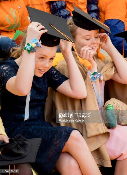 Princess Alexia and Princess Ariane of The Netherlands attend the King's 50th birthday during the Kingsday celebrations on April 27 2017 in Tilburg...