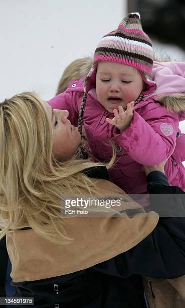 Princess Alexia and Princess Maxima during The Dutch Royal Family's Ski Holiday February 11 2007 in Lech Austria