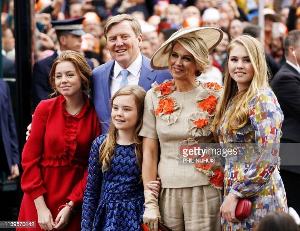 Princess Alexia King WillemAlexander Princess Ariane Queen Maxima and Princess Alexia arrive to Amersfoort to celebrate Kings Day on April 27 2019...