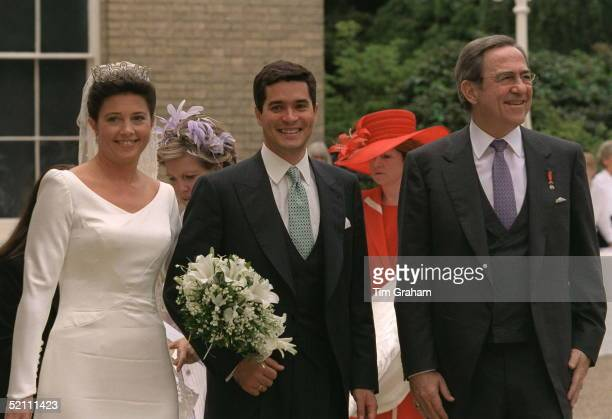 Princess Alexia Of Greece And Carlos Morales Quintana With King Constantine Arriving For Their Wedding Reception At Kenwood House Hampstead London