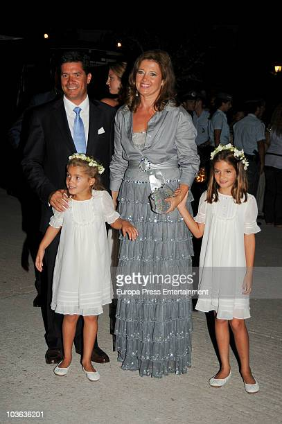Princess Alexia of Greece and Carlos Morales with their two daughters Arrieta and AnneMaria Morales attend the wedding banquet for Prince Nikolaos of...