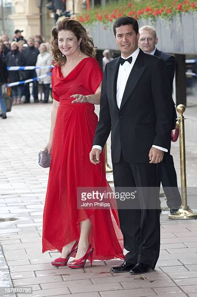 Princess Alexia Of Greece And Husband Carlos Morales Quintana Leaves The Grand Hotel Stockholm To Attend A Government Dinner At The Eric Ericson Hall...
