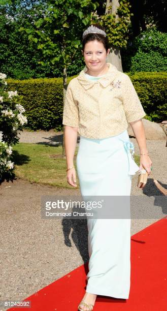 Princess Alexia of Greece arrives to attend the wedding between Prince Joachim of Denmark and Marie Cavallier on May 24, 2008 at the Mogeltonder...