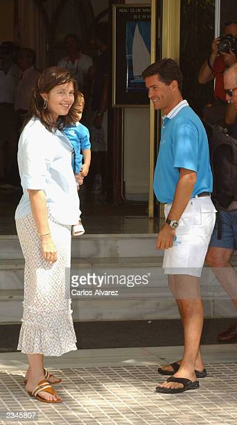 Princess Alexia of Greece husband Carlos Morales and daughter Arrieta are seen during the third day of 22 Edition of Sailing Trophy Copa del Rey on...