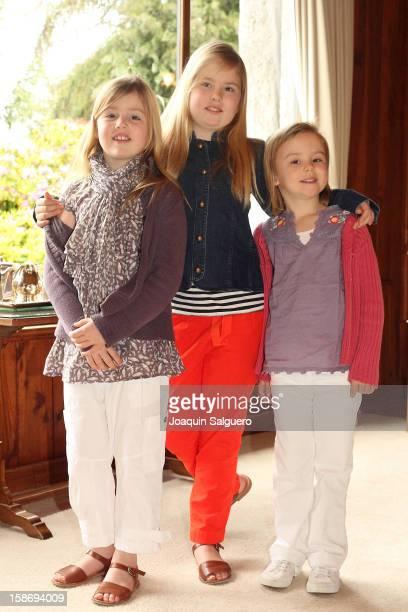 Princess Alexia of Netherlands, Princess Catharina-Amalia of Netherlands and Princess Ariane of Netherlands pose as the Dutch Royal family celebrate...