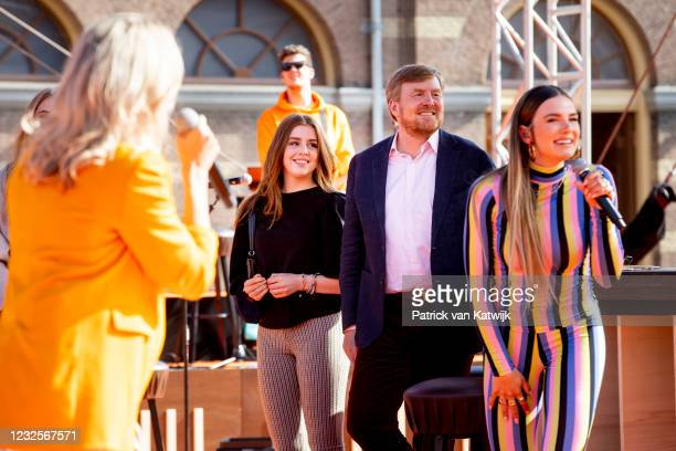 Princess Alexia of The Netherlands and King Willem-Alexander of The Netherlands attend the online concert of The Streamers on April 27, 2021 in The...