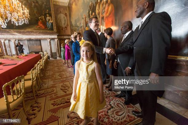 Princess Alexia of the Netherlands attends the Act of Abdication in the Moseszaal at the Royal Palace on April 30 2013 in Amsterdam Queen Beatrix of...