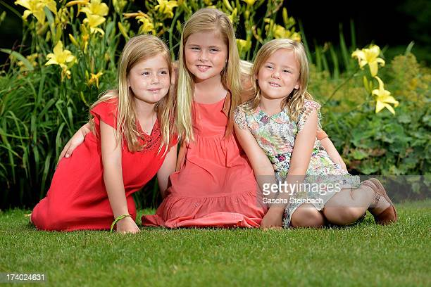 Princess Alexia of the Netherlands, Crown Princess Catharina-Amalia of the Netherlands and Princess Ariane of the Netherlands pose during the annual...