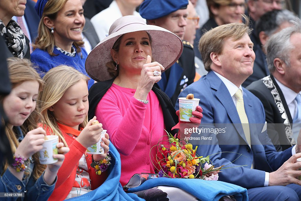 Princess Alexia of The Netherlands, Princess Ariane of The Netherlands, Queen Maxima of The Netherlands and King Willem-Alexander of The Netherlands attend King's Day (Koningsdag), the celebration of the birthday of the Dutch King, on April 27, 2016 in Zwolle, Netherlands. Parties and concerts are held across the Netherlands as members of the Dutch royal family oversee festivities.