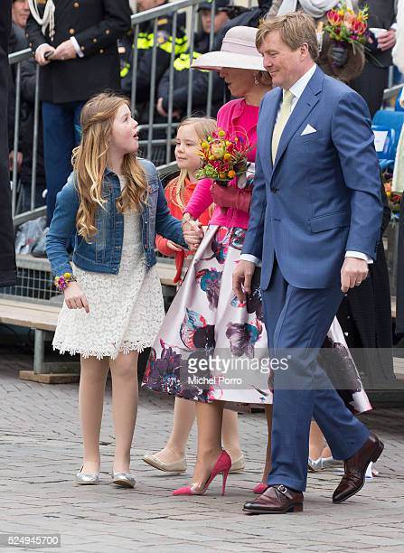 Princess Alexia Princess Ariane Queen Maxima and King WillemAlexander of The Netherlands attend celebrations marking his 49th birthday on King's Day...