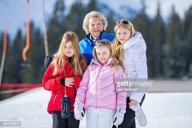 Princess Alexia Princess Beatrix of the Netherlands Princess Ariane and Princess CatharinaAmali pose at the annual winter photocall on February 23...