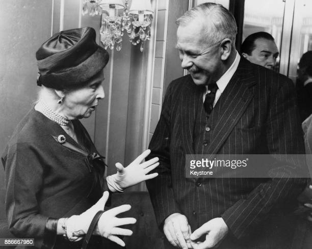 Princess Alice Countess of Athlone talks to zoologist George Cansdale during the Foyles Literary Luncheon at the Dorchester Hotel in London 28th...