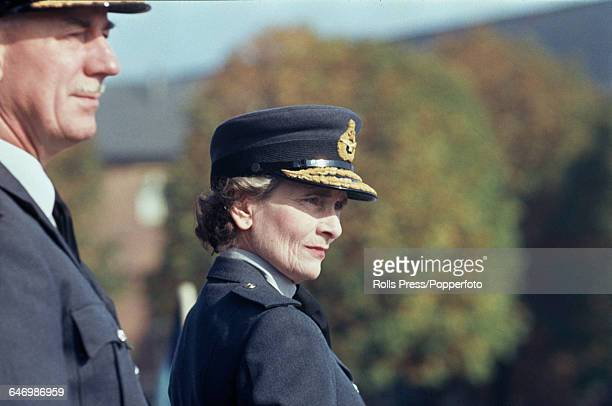 Princess Alice, Duchess of Gloucester , Air Chief Marshal of the Women's Royal Air Force , dressed in RAF uniform, attends a parade at RAF Uxbridge...