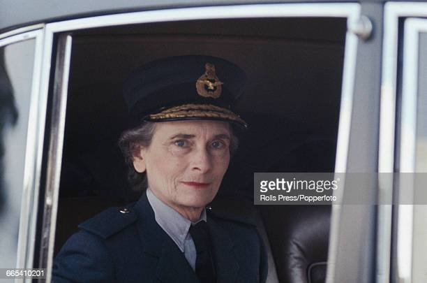 Princess Alice, Duchess of Gloucester , Air Chief Marshal of the Women's Royal Air Force , pictured dressed in RAF uniform as she arrives in a car to...