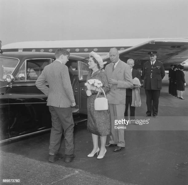 Princess Alice, Duchess of Gloucester , and Prince Henry, Duke of Gloucester are met at Heathrow Airport by their son Richard, after a trip to Turkey...