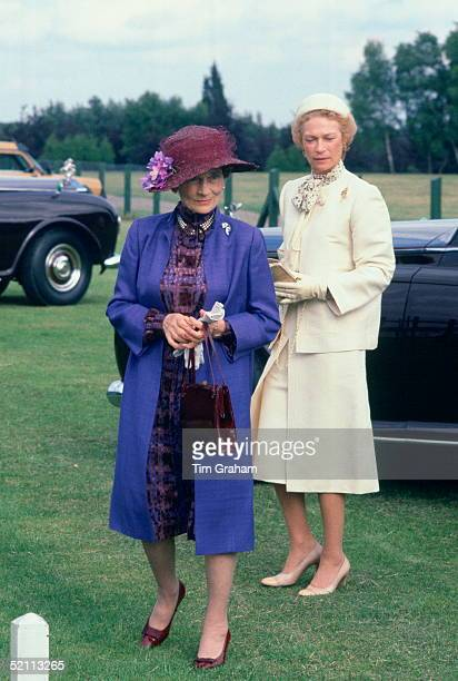 Princess Alice Duchess Of Gloucester With The Grand Duchess Of Luxembourg Attending Polo After Ascot At Guards Polo Club During The 1980s